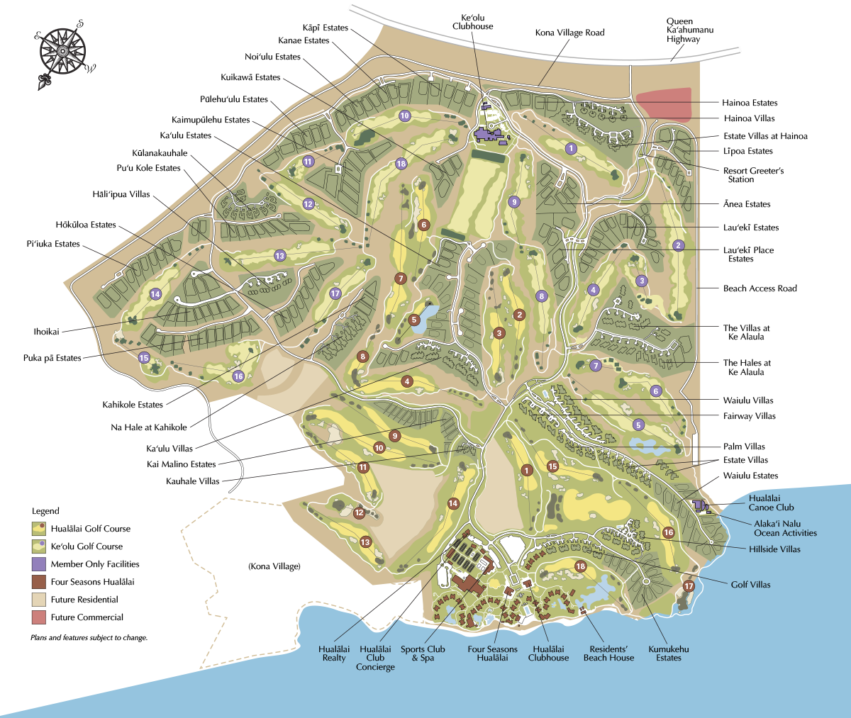 Hualalai Resort Map